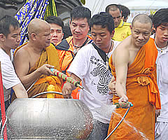 Blessing of the monks with holy water