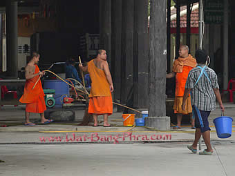 Monks make last cleanups