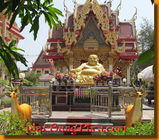 Roes and a chinese Buddha in the tattoo temple of Wat Bang Phra